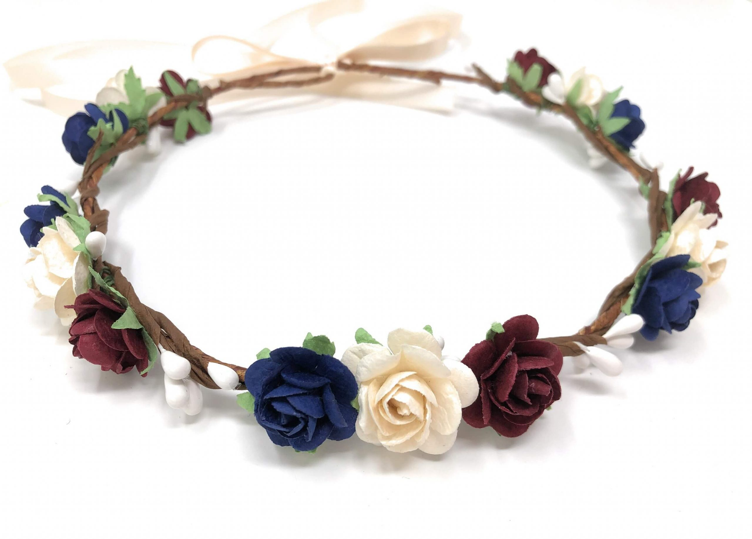 blue navy burgundy flower crown style 4