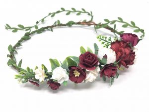 burgundy flower crown Christmas holiday season