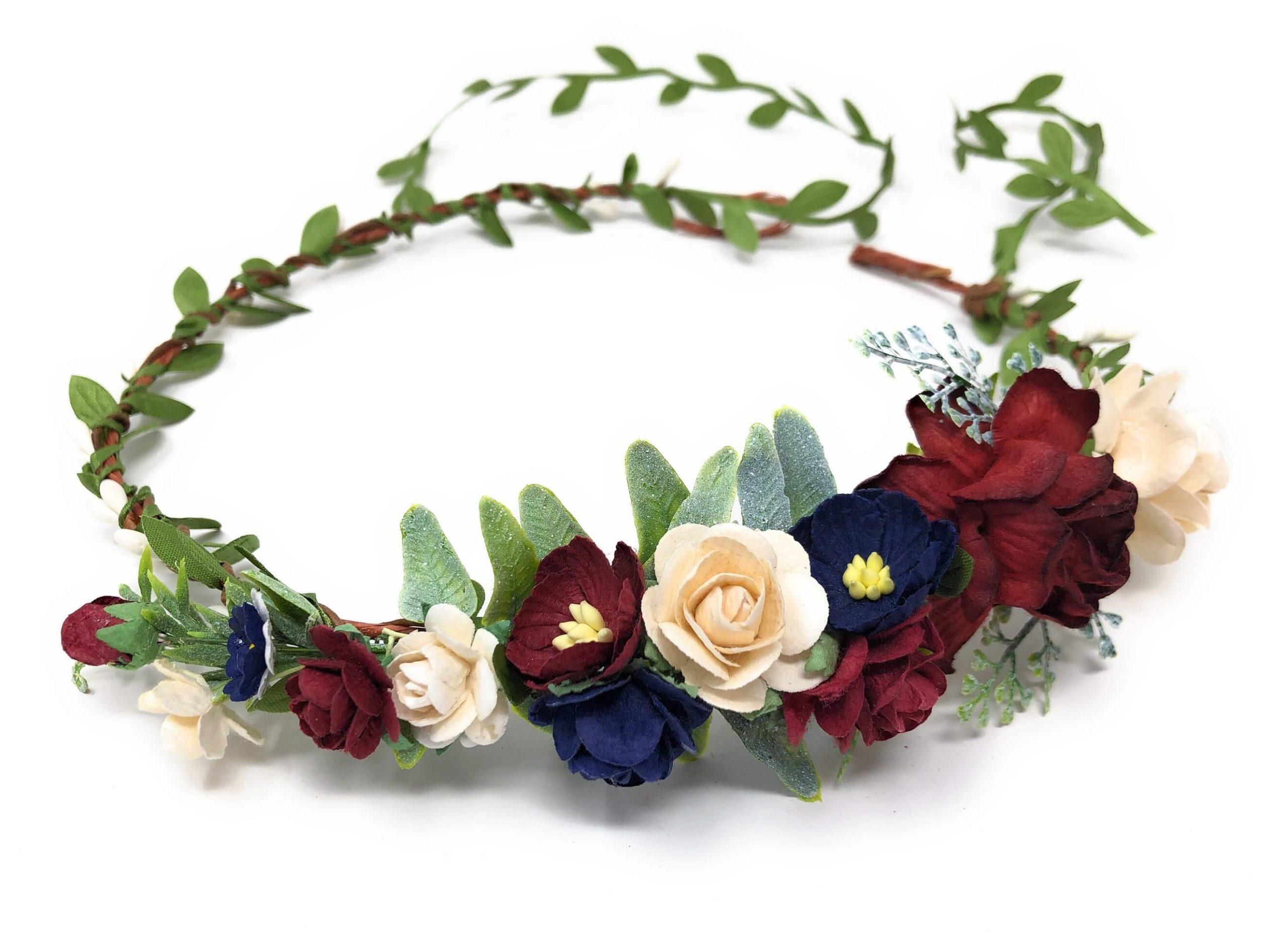 burgundy flower headband