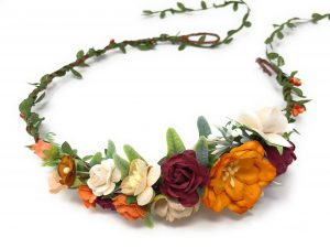 fall flower headpiece orange color