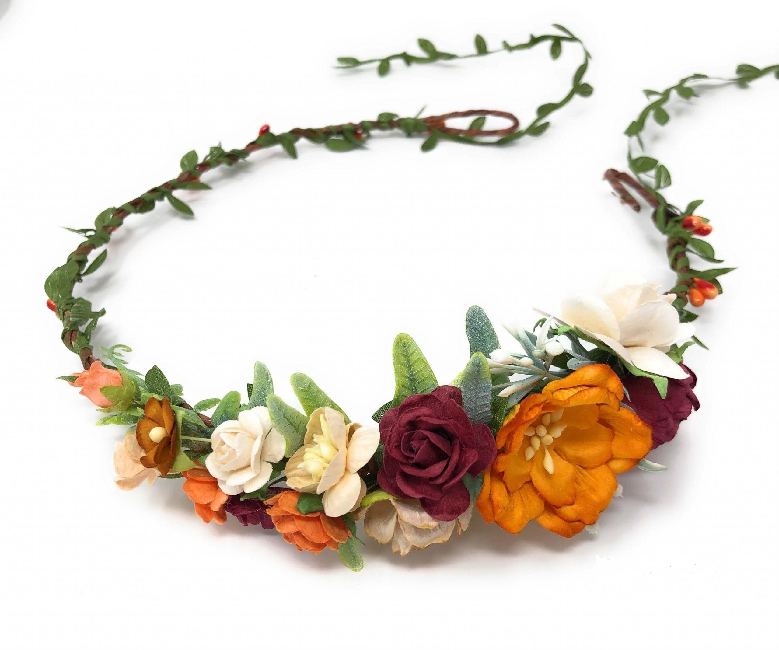 Fall Flower Crown Autumn Wedding Davlya Custom Wedding Accessories Shop