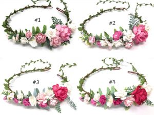 pink flower crown headband style 6