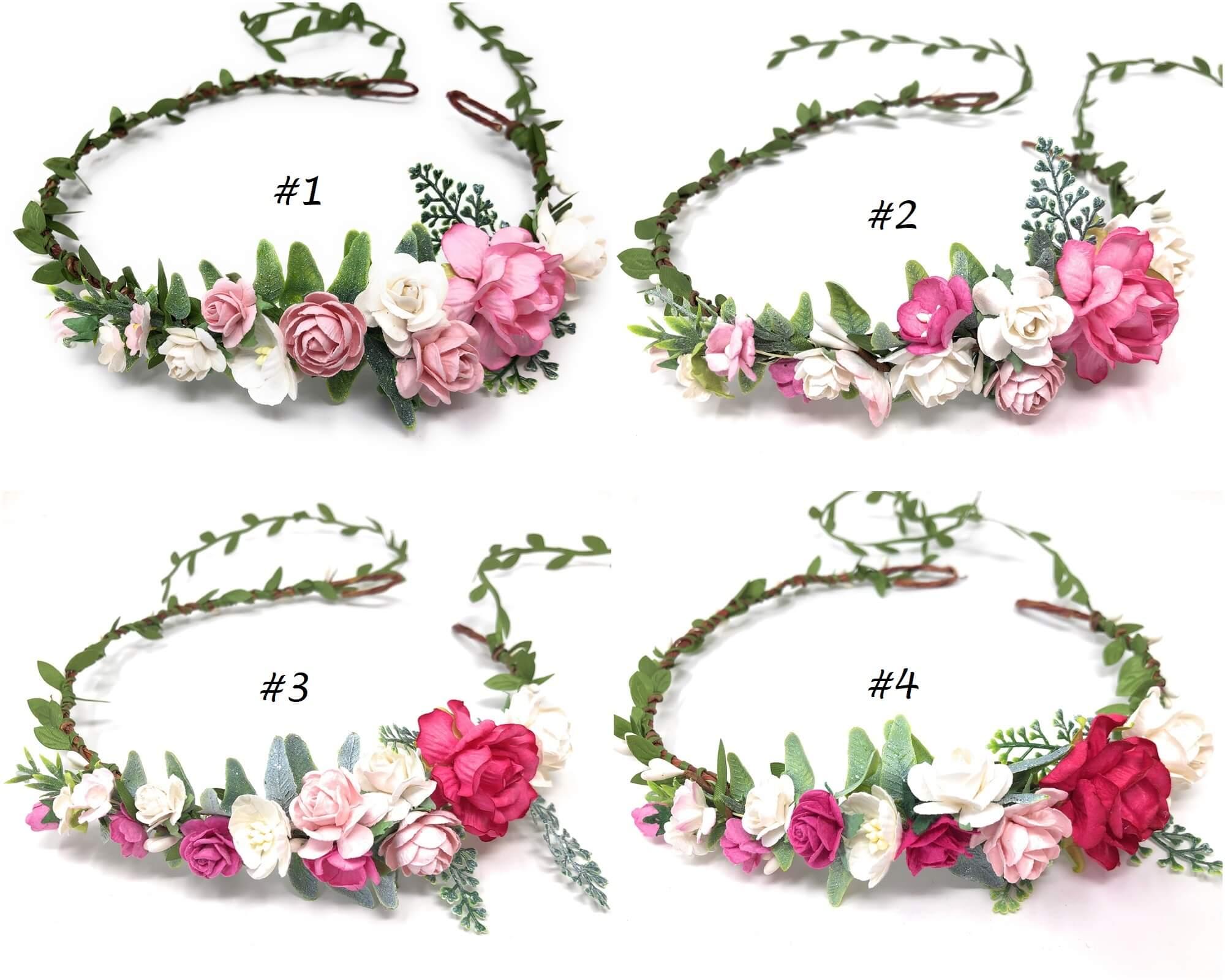 pink flower crown headband style 6