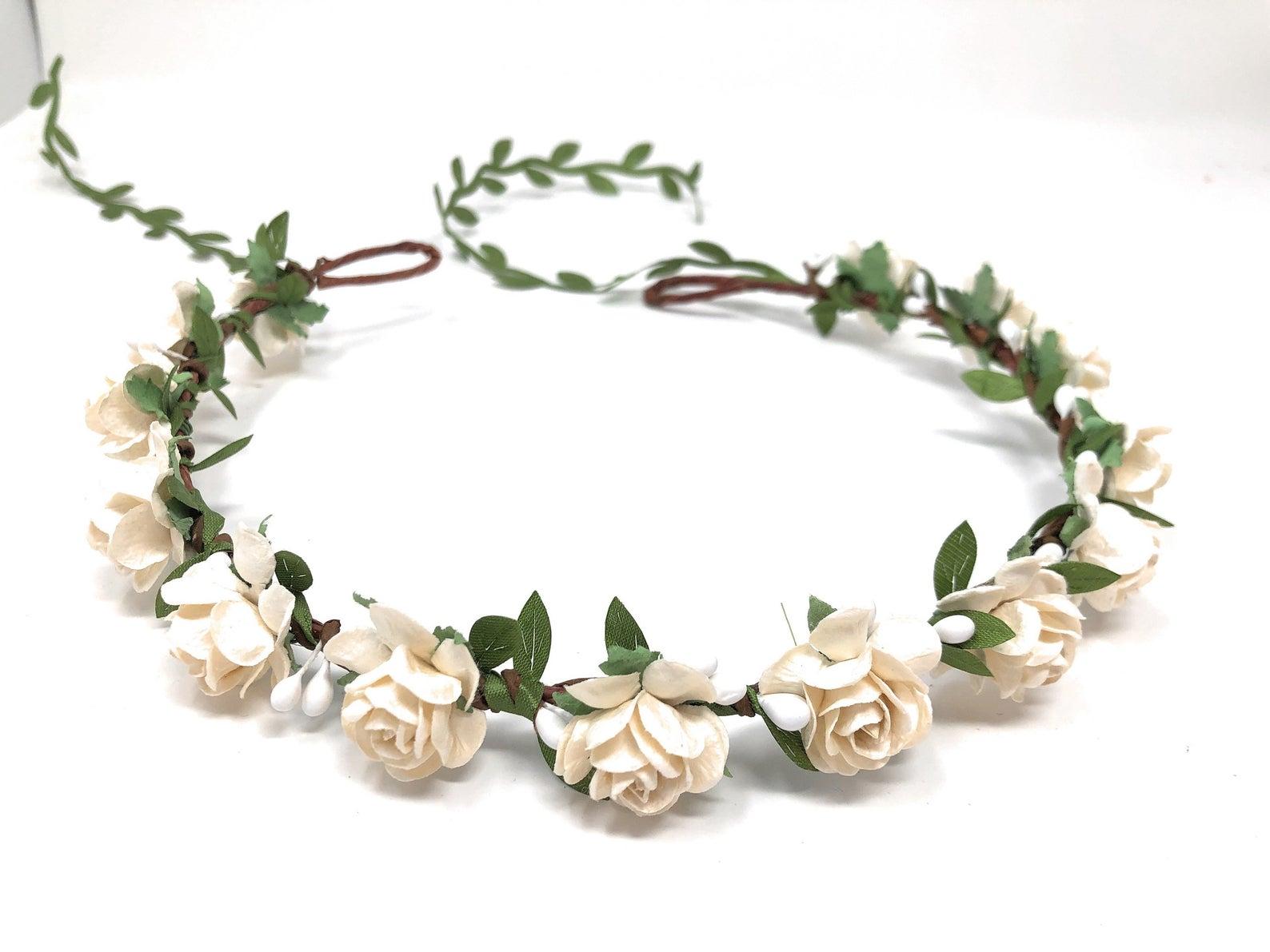 ivory flower crown wedding style 1 main2