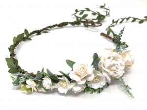 Ivory and white flower crown