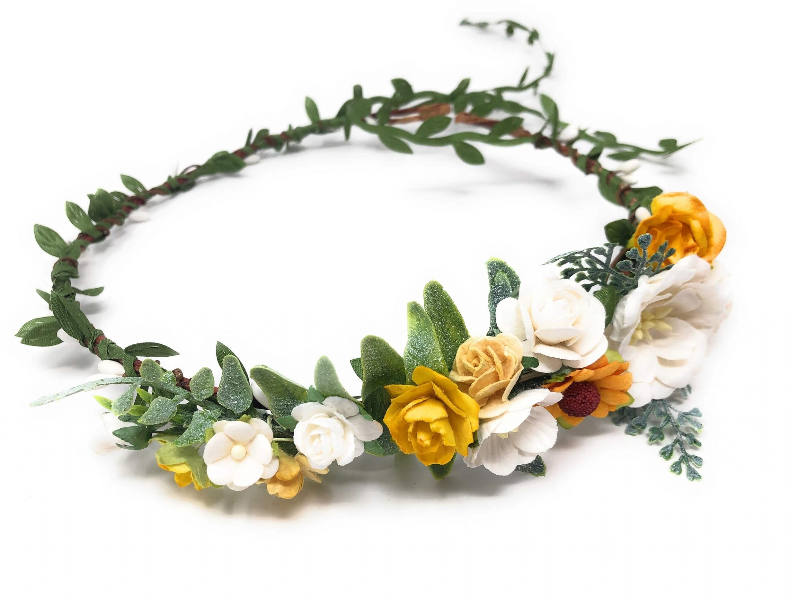 yellow flower crown for fall season
