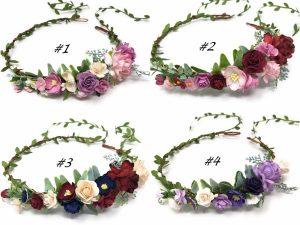Dusty pink flower crown wedding