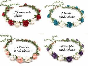 red teal peach purple flower crown